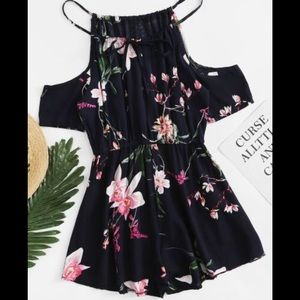 Pants - Open Shoulder Floral Print Romper